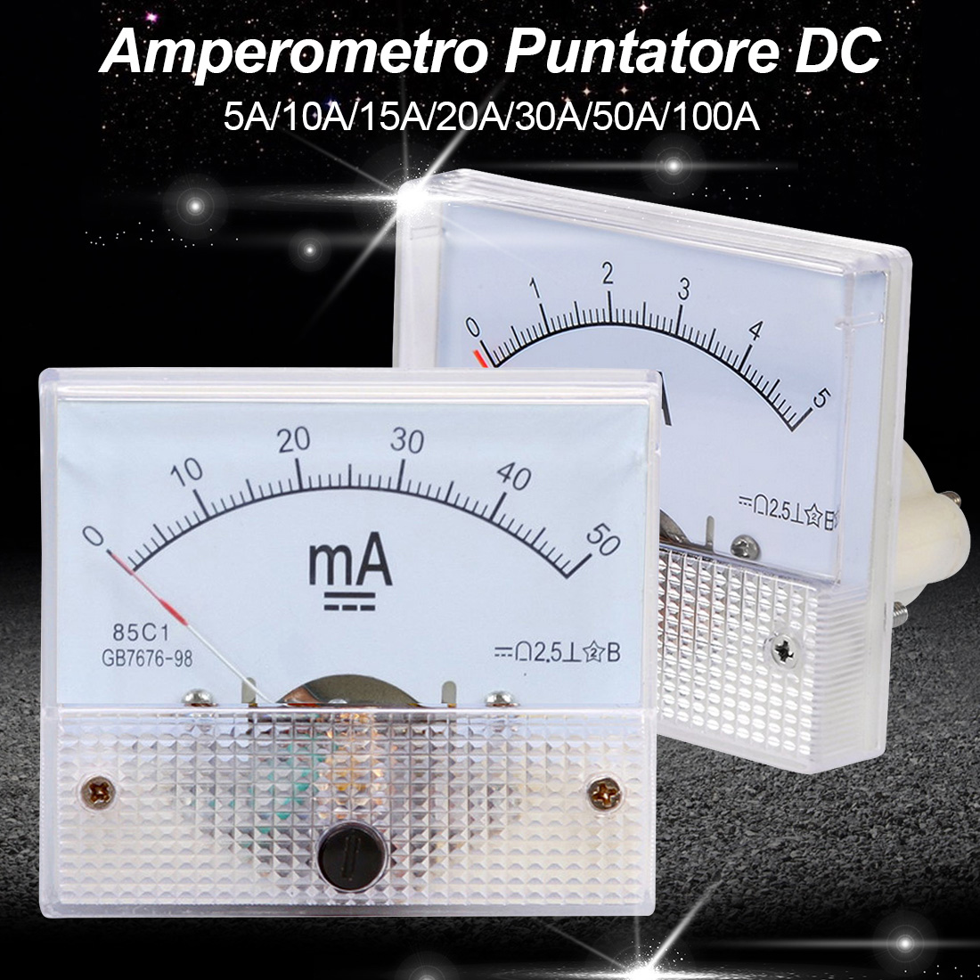 DC Current Meter Analog Panel 5A 10A 20A 30A 50A 100A AMP Gauge Tester Mechanical Ammeters 85C1