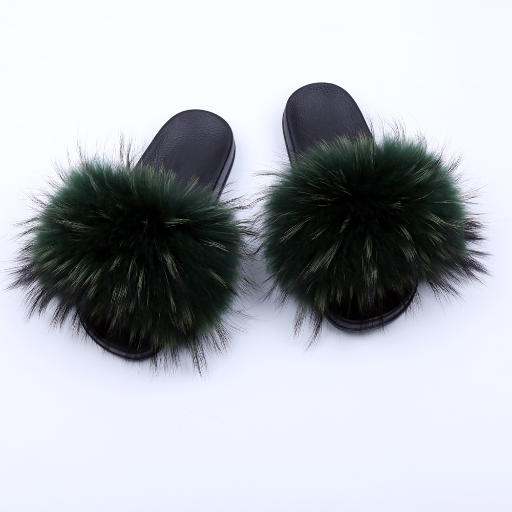 Luxury Genuine Raccoon Fur Flat Shoes Women Fashion Fur Sandal Shoes Handmade Female Slides Indoor Outdoor Slippers