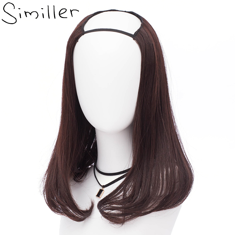 Realistisch Similler Korte Krullend U Deel Half Pruik Synthetisch Haar Stuk Voor Vrouwen Onzichtbare Volledige Head Clip In Hair Extension Heat Slip