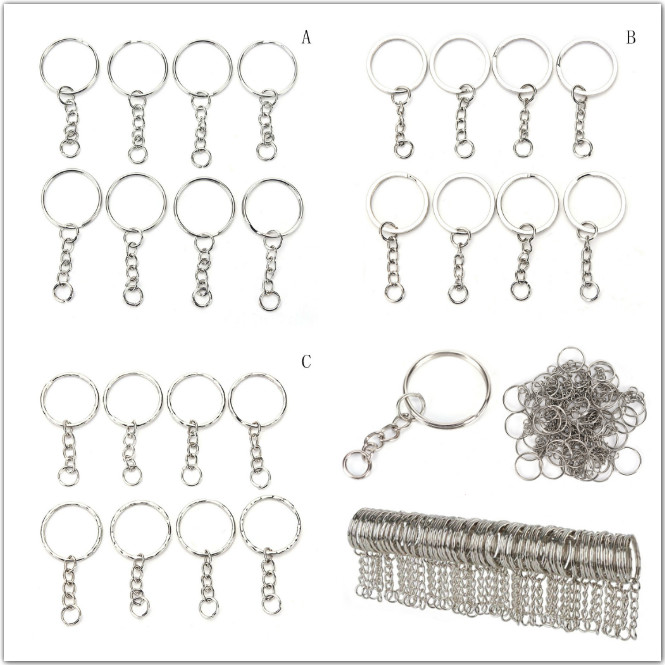 50pcs/100 Pcs/Set Silvery Stainless Alloy Circle DIY Key Chains 25mm Keyrings 3 Styles Jewelry Keychain Key Ring 50pcs polished silver color keyring keychain split ring with short chain key rings women men diy key chains accessorie 25mm 30mm