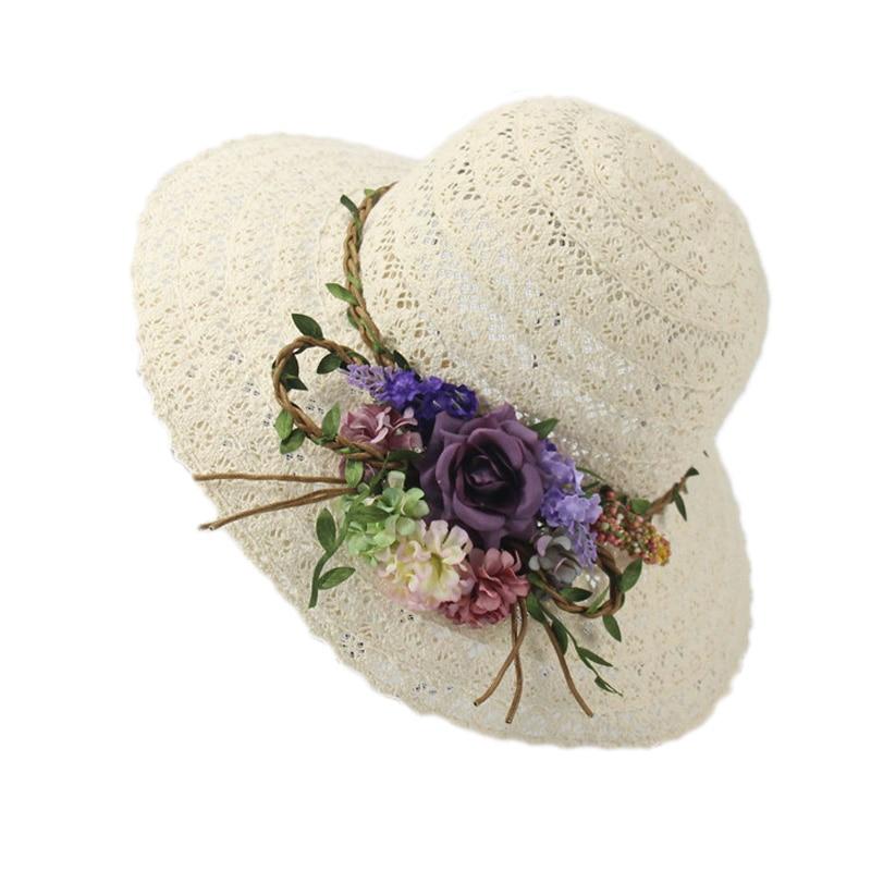 8f69142f2f665 Hollow Sun Hat Women Wide Brim Flower Beach Summer Caps Ladies Church Cap  Floppy Sun Visor Hat Wedding Floral Hats YY17134-in Sun Hats from Apparel  ...