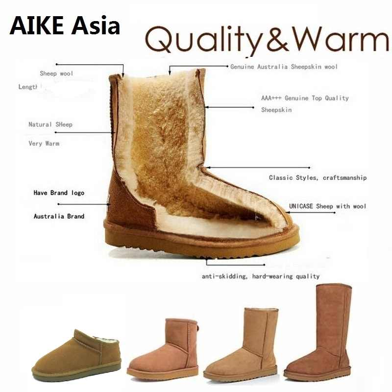 High Quality Snow Boots Women Fashion Genuine Leather Australia Women's High Boot Winter Women Snow Shoes botas mujer SIZE 3-12