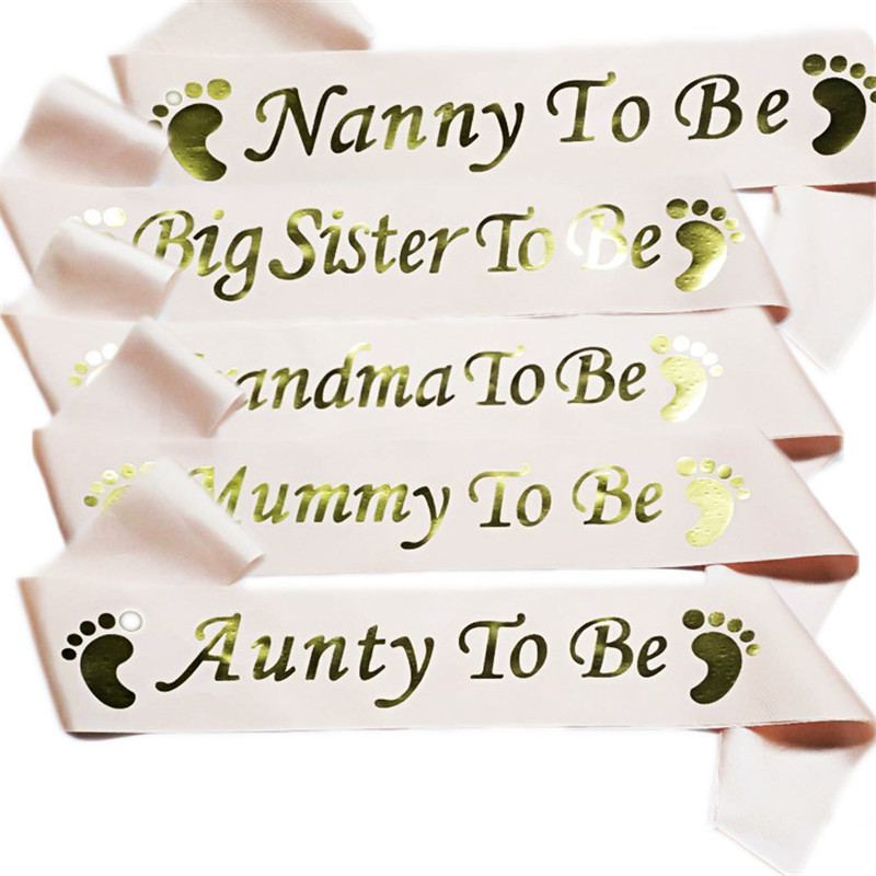 Mom To Be Satin Ribbon Sashes Baby Shower Mommy Shoulder Strap Sash Party Gift Mother Favors Event Supplies