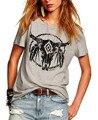 Mulheres nova Moda de Verão de Algodão Ocasional t camisa tau impressão Cinza O pescoço de manga curta soltas de algodão t Das Mulheres camisas de t topos Z2349