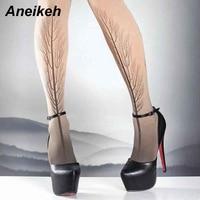 Aneikeh 2019 Sexy Pumps Wedding Women D'Orsay Shoes Concise Woman Pumps High Heel Stripper PU Pumps 16 cm Size 34 40 Black
