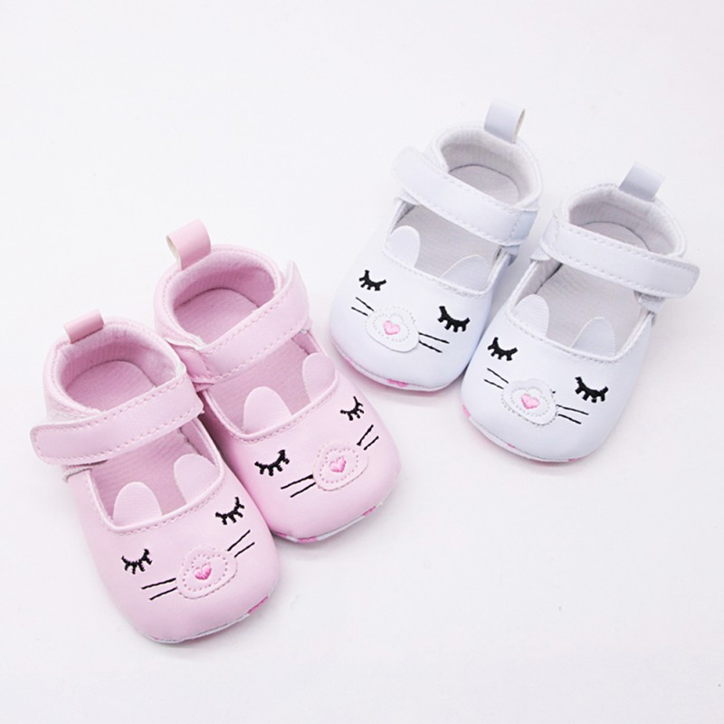 2018 New Cute Baby Girls Newborn Babies PU Leather First Walkers Princess Shoes Non-slip Shoes