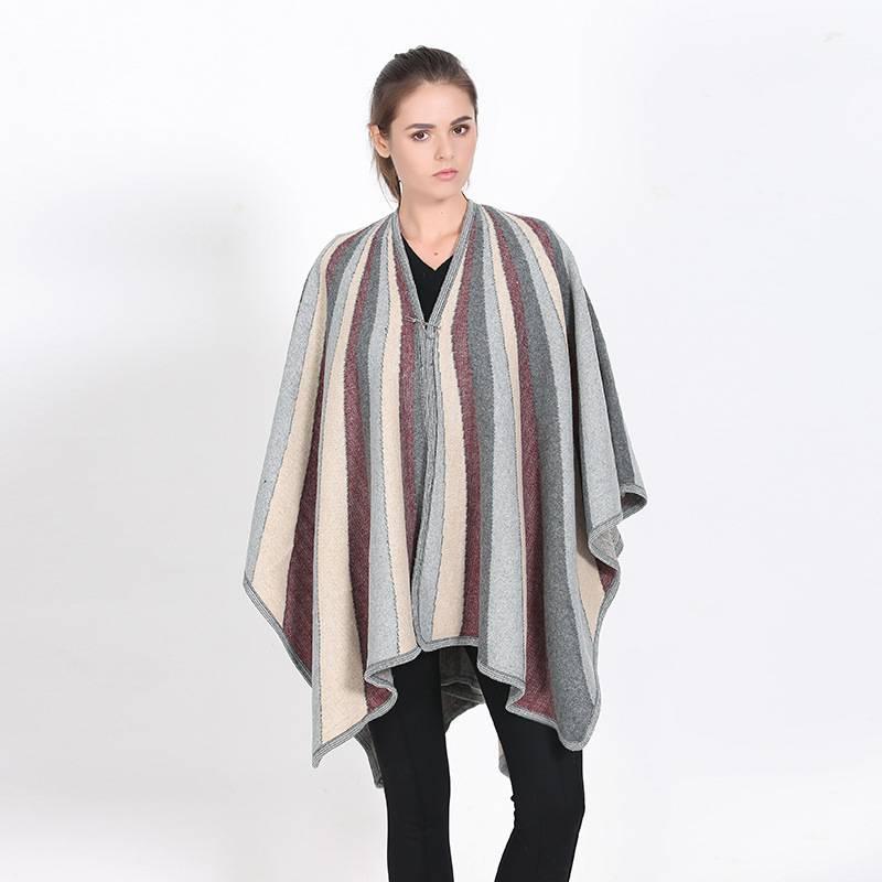 Fashion Striped Chic Cashmere Poncho Pashmina Mujer Luxury Brand font b Tartan b font Foulard Winter