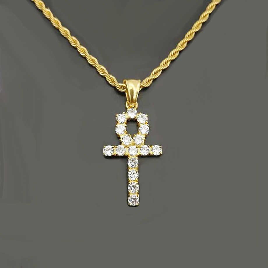 เย็น Zircon จี้ Ankh Cross ทองเงินสแตนเลสสตีล CZ อียิปต์ Key จี้สร้อยคอผู้ชายผู้หญิง Hip Hop เครื่องประดับ