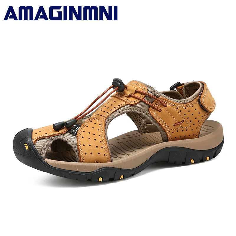 AMAGINMNI 2018 Genuine Leather Summer Beach Male Shoes Adult For Men Sandals Casual Collision Avoidance Water Walking Sandalias