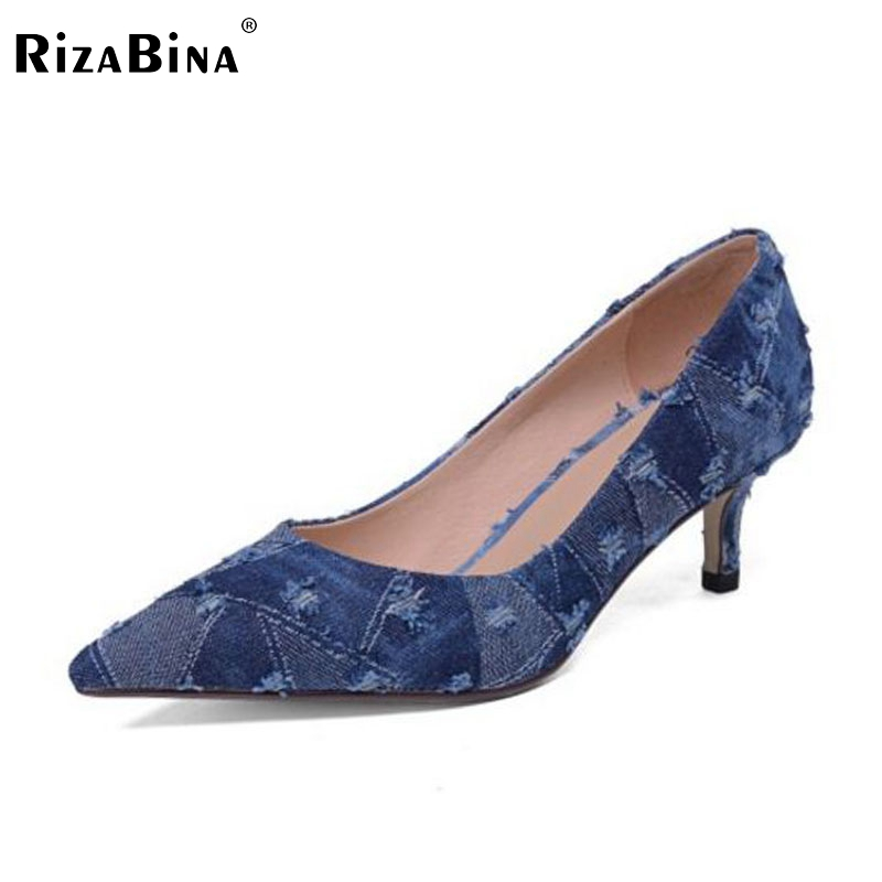 RizaBina Size 33-42 Sexy Office Lady Real Genuine Leather High Heel Shoes Women Pointed Toe Denim Thin Heel Shoes Women Footwear doratasia denim eourpean style big size 33 43 pointed toe women shoes sexy thin high heel brand design lady pumps party wedding