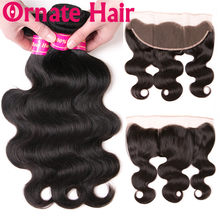 Ornate Brazilian Hair Weave Bundles With Lace Frontal Closure Bodywave Human Hair Weft With 13x4 Closure Hair Non Remy Extension(China)