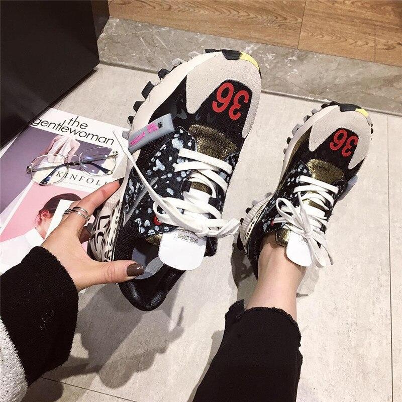 DORATASIA 2019 printemps nouveau Ins chaud Patchwork baskets femmes Split cuir fille mode plate-forme chaussures femmes chaussures femme décontractées - 2
