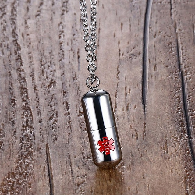 Medical Alert ID Stainless Steel Pendant Pills Box Chokers Necklace