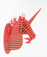 Unicorn head ornament,Wooden crafts wall decorations,wood animals head,home decoration wall art,nordic decoration,wooden unicorn