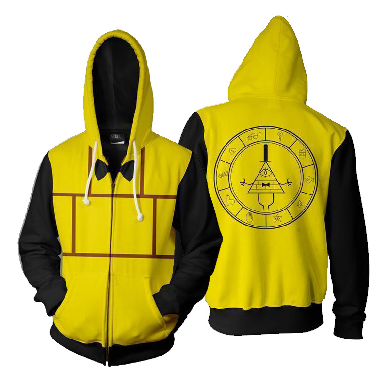 Gravity Falls Hoodie Sweatshirt Bill Cipher 3D Hoodies Cosplay Men's Casual Zipper Hoodies Thin Sweatshirts Coat Wholesale