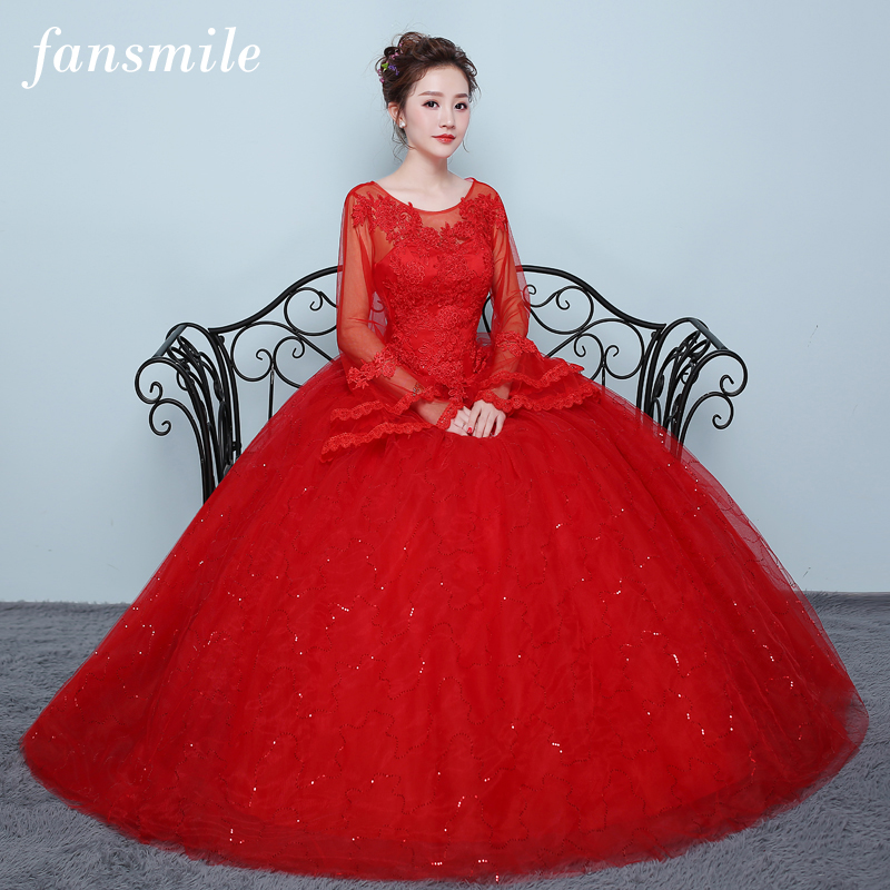 Fansmile 2019 Red Tulle Mariage Long Sleeve Vestido De Noiva Lace Ball Wedding Dress Custom-made Plus Size Bridal Gown FSM-418F