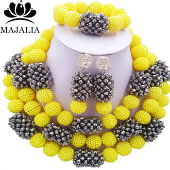 Majalia Classic Fashion Nigerian Wedding African Jewelery Set Yellow and Silver Crystal Necklace Bride Jewelry Sets 3SZ026