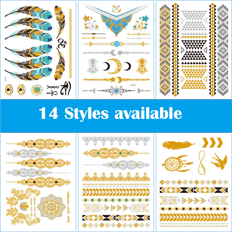 10 Styles Metallic Tattoos Waterproof Temporary Tattoos Sticker Fake Flash Tattoo Designs In Gold Silver