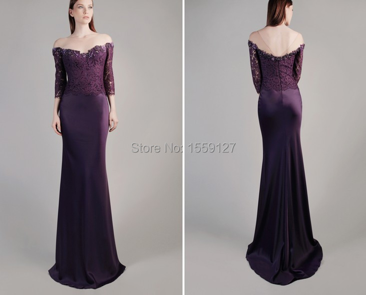 2017 Purple Elegant Mother Of The Bride Dress Scoop Three