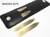 SHANH ZUN 4 pz Collare Soggiorni In Ottone per Camicie di Vestito con una Comoda Portafoglio In Pelle 2.2