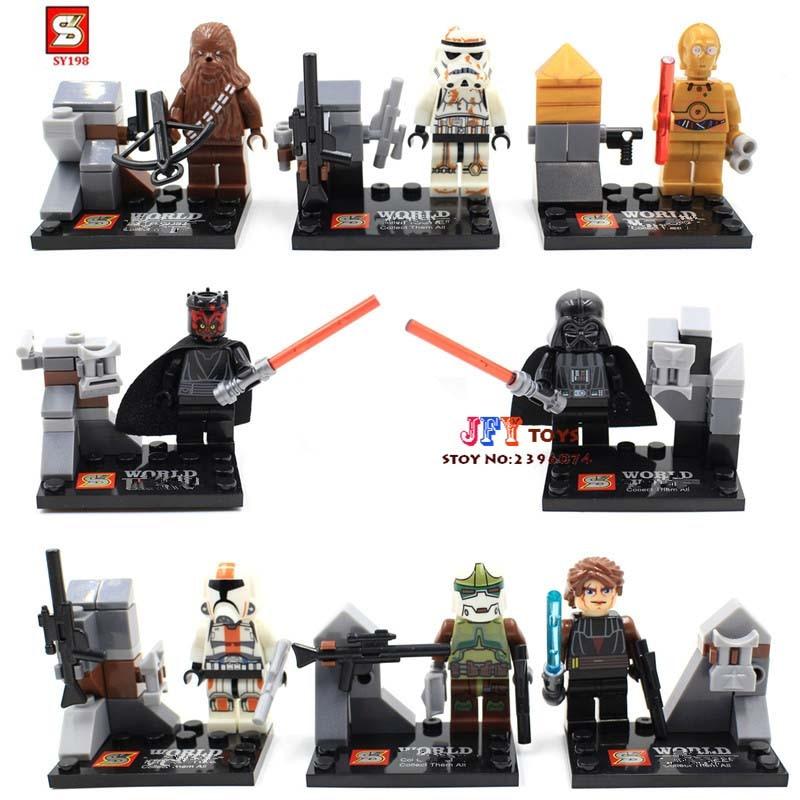 80pcs starwars superhero SY198 Darth Vader/C3PO building blocks bricks friends for girl boy house games children toys iluminador