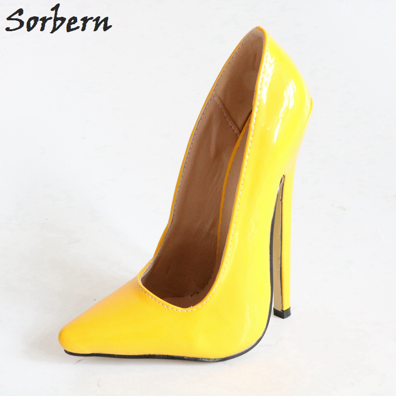 Sorbern Bright Yellow Slip On Women Pumps Pointy Toes Super High Heels 18Cm Pole Dance Shoe Heels African Party Shoes 2018Sorbern Bright Yellow Slip On Women Pumps Pointy Toes Super High Heels 18Cm Pole Dance Shoe Heels African Party Shoes 2018