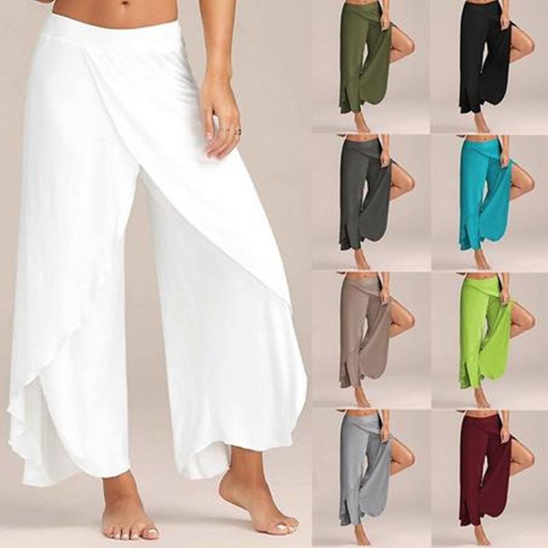 HTB1v43KRFXXXXX7aXXXq6xXFXXXW - Split Front Trousers Female Solid Elastic Waist Loose Pants PTC 246