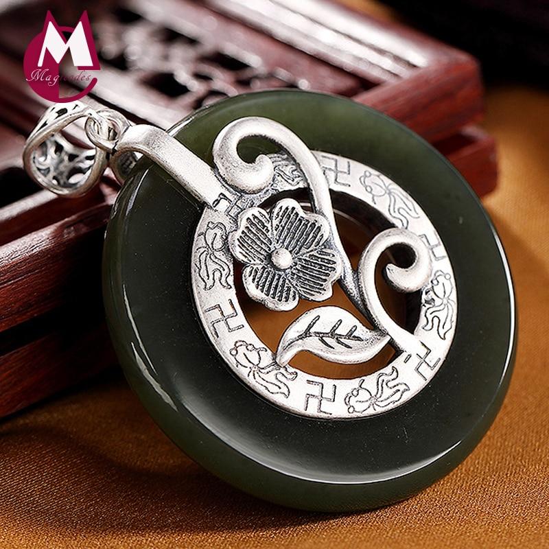 2019 incrusté de pierres naturelles Jasper fleur chakra pendentif 100% réel 925 en argent Sterling femmes collier pendentifs 925 bijoux P012