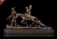 43 CM Grande CASA CAMERA UFFICIO CLUB BAR TOP Indiani famiglia-cavallo di arte decorativa Native American Retro scultura in bronzo arte