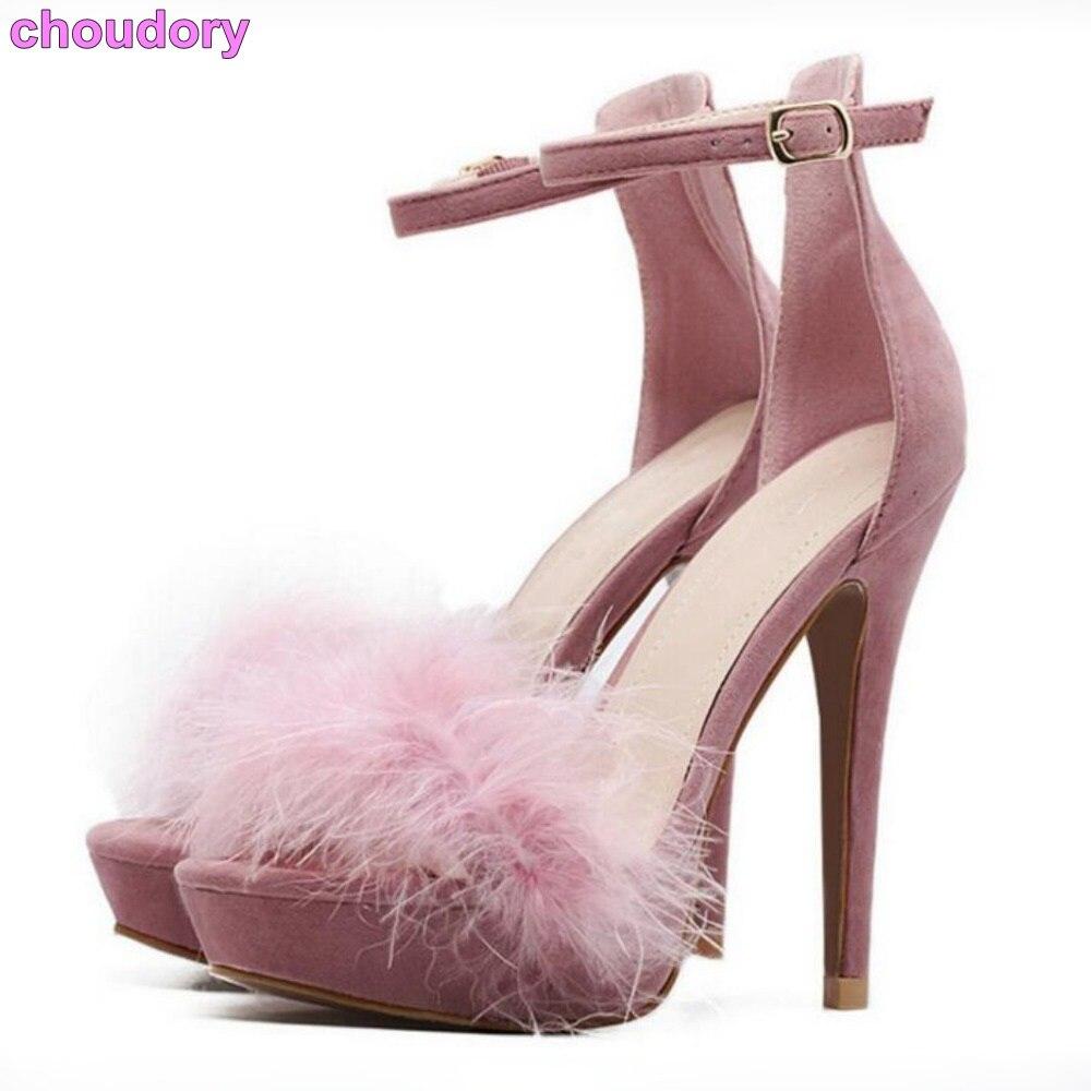 Style princesse coréenne rose noir fourrure sandales plate-forme plume robe chaussures demoiselles d'honneur robe chaussures couvertes talon pompes talons minces