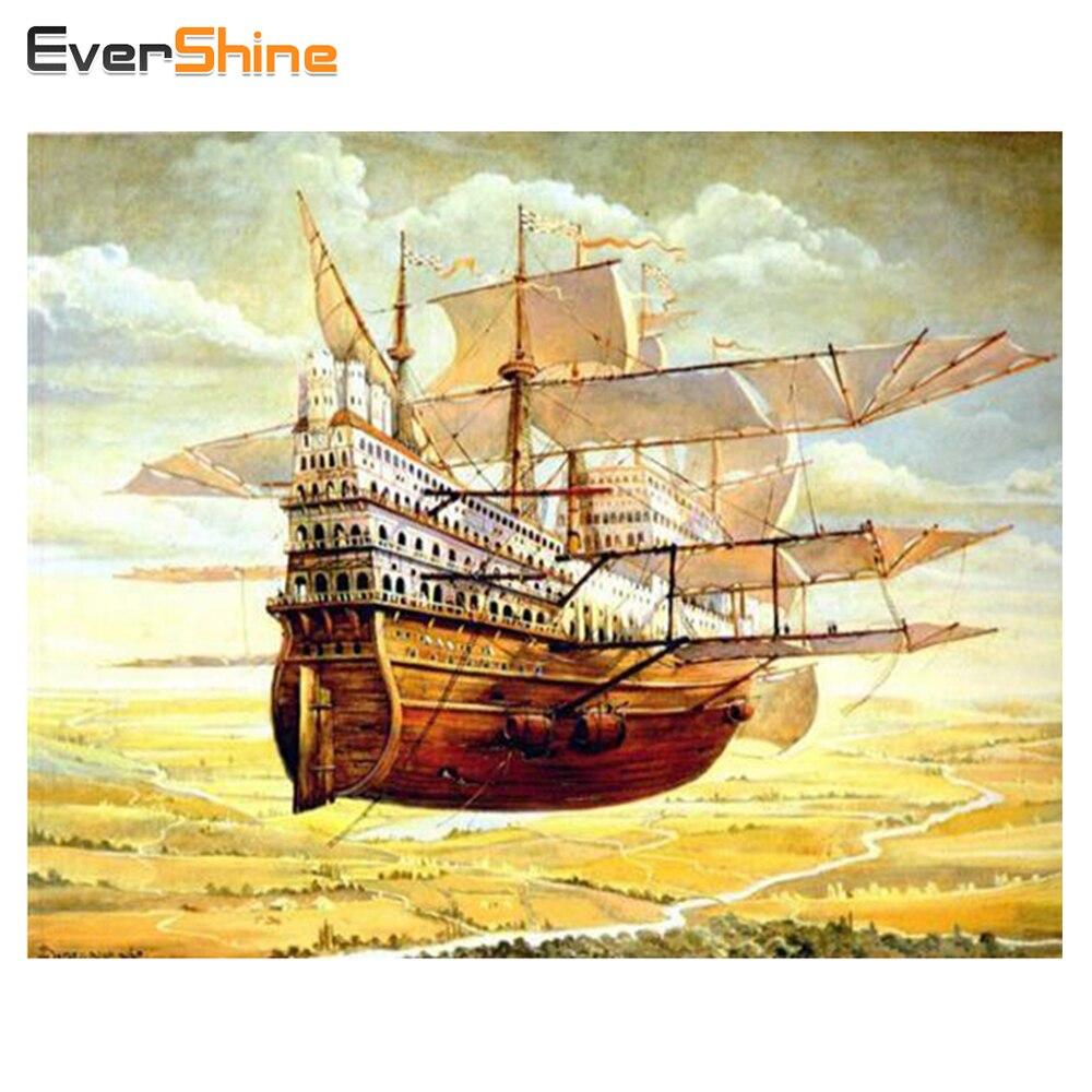 Dream World Sailing Ship Diamond Painting Cross Stitch Diamond ...