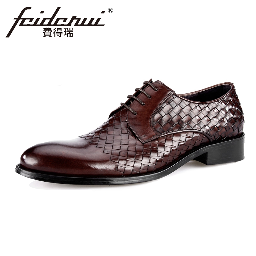 High Quality Handmade Genuine Leather Mens Oxfords Round Toe Lace-up Man Formal Dress Flats Luxury Male Wedding Shoes BQL88