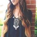 3143 2015 Nuevo Bohemio Gitano de Boho de La Manera Larga de Las Borlas de Joyería de Plata Antigua Talla de Monedas Collar Para Las Mujeres Joyería Fina