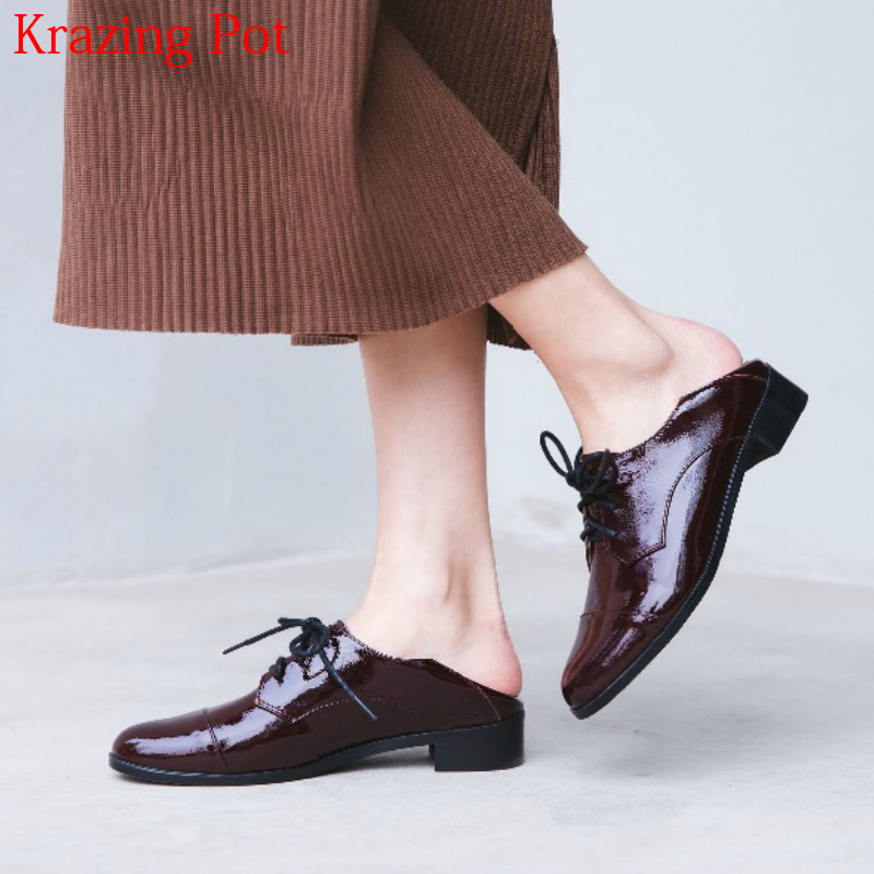 2018 Superstar Genuine Leather Thick Heels British School Lace Up Women Pumps Round Toe Young Lady Runway Sweet Casual Shoes L10 2018 superstar genuine leather streetwear med heels tassel slip on women pumps round toe retro sweet handmade casual shoes l03