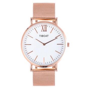 TIBOAT Luxury Steel Mesh Women Watch Ladies Ultra Thin Stainless Steel Band Quartz Wristwatch Fashion Female Clock Relogio