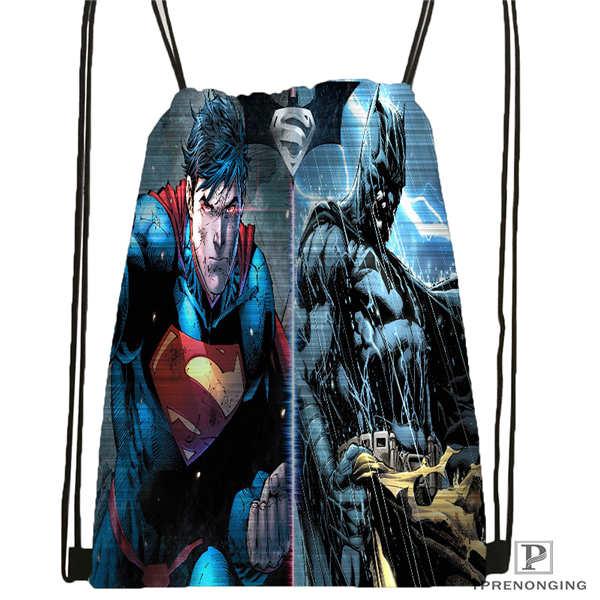 Custom world finest superman vs batman Drawstring Backpack Bag Cute Daypack Kids Satchel Black Back 31x40cm