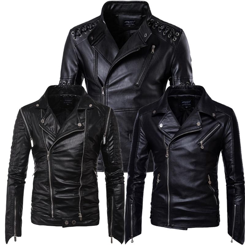Super Quality PU 2017 New Design Slim Fit Biker Motorcycle Leather Jacket Men Black Plus Size 5XL