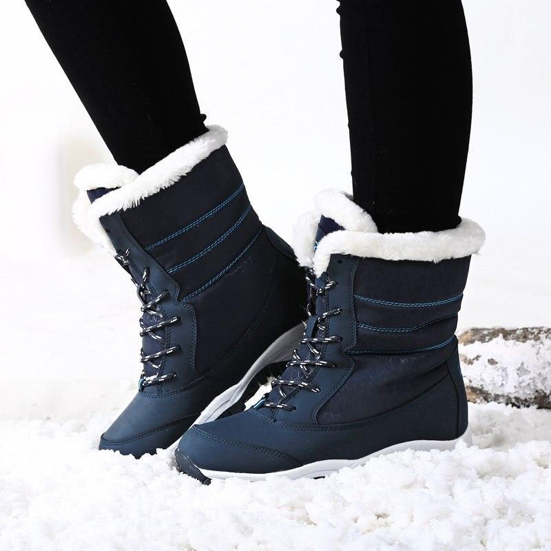 Зимние сапоги, женские модные теплые зимние сапоги, женские непромокаемые сапоги на плоской нескользящей платформе, Zapatos De Mujer, черные, больш...