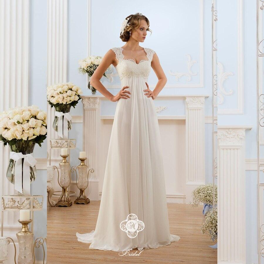Vestido de noiva Vestido de Novia Barato con Alta Calidad Imperio de Encaje Con