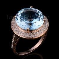 ของแข็ง14พันกุหลาบรอบ13มิลลิเมตรเพชรทองธรรมชาติบลูโทพาสแหวนแหวนแต่งงานร้อนขาย