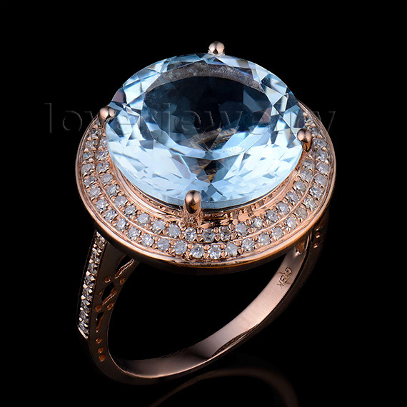 Solid 14K Rose Round 13mm Gold Diamond Natural Blue Topaz Ring Wedding Ring Hot Sale solid 14k rose gold 100