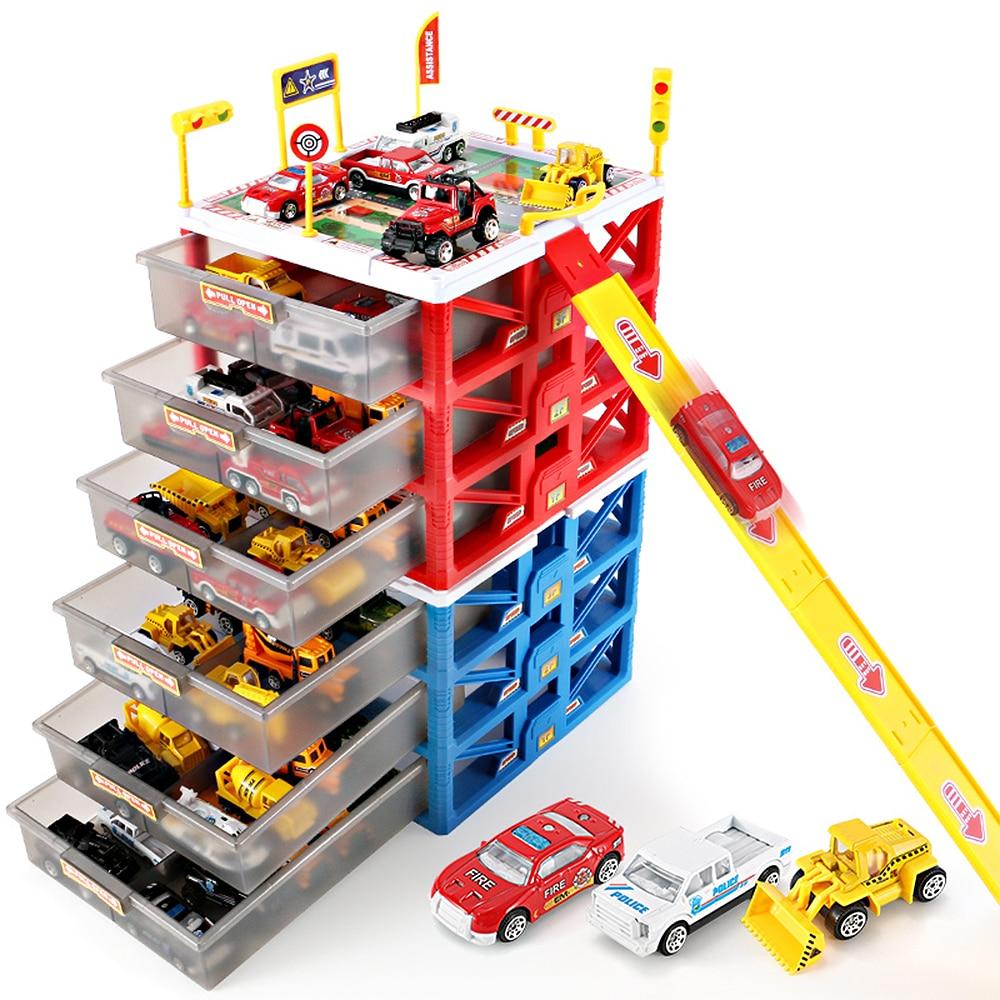 Nouveau multi-fonctionnel Mini Parking voiture jouet tiroir enfants jouets boîte de rangement cas garçons nouveauté cadeaux enfants jeux de fête