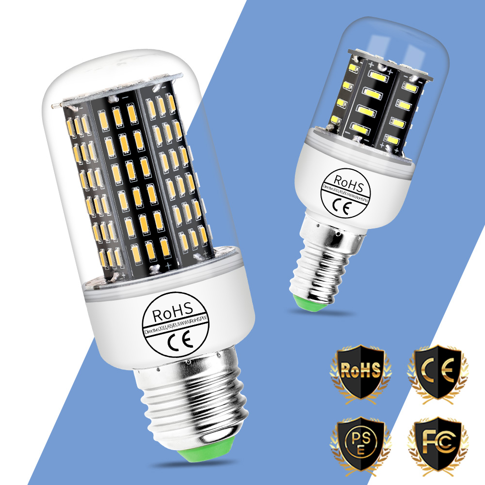 More Bright Corn Lamp 4014 E27 Led Lamps E14 Ampoule Led 220V Home Led Light Bulbs 38 55 78 88 140leds Chandelier Lighting 230V in LED Bulbs Tubes from Lights Lighting