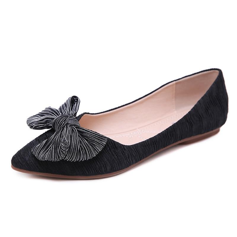 rose Toile Femmes Sur Peu Pointu Profonde Dames Plate Fond Glissement Noués Ballet Casual forme Avant Bout Mou Chaussures Apricot noir Appartements AqgARwa