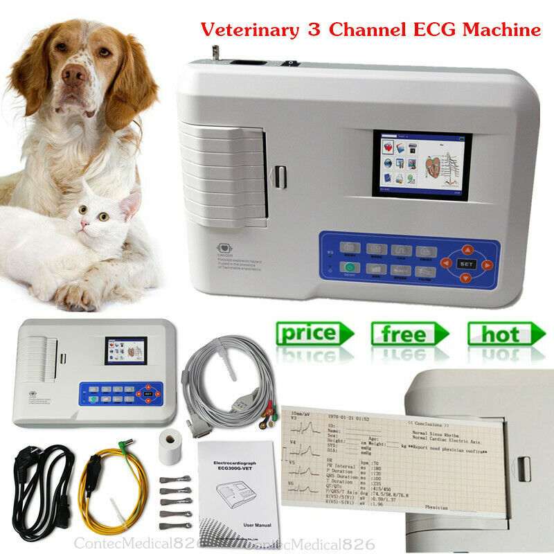 Veterinary 3 Channel ECG Machine 12 Lead EKG Electrocardiograph Printer For VET