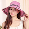 Brand Wide Brim Summer Beach Hats for Women 2016 Fashion Floppy Cap Women Sun Hat Bowknot Foldable Women Straw Hat with String