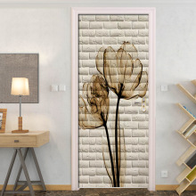 Brown Floral Beige Bricks Door Stickers Wall Home Decoration PVC Waterproof Bedroom Door Sticker Wallpaper Wall