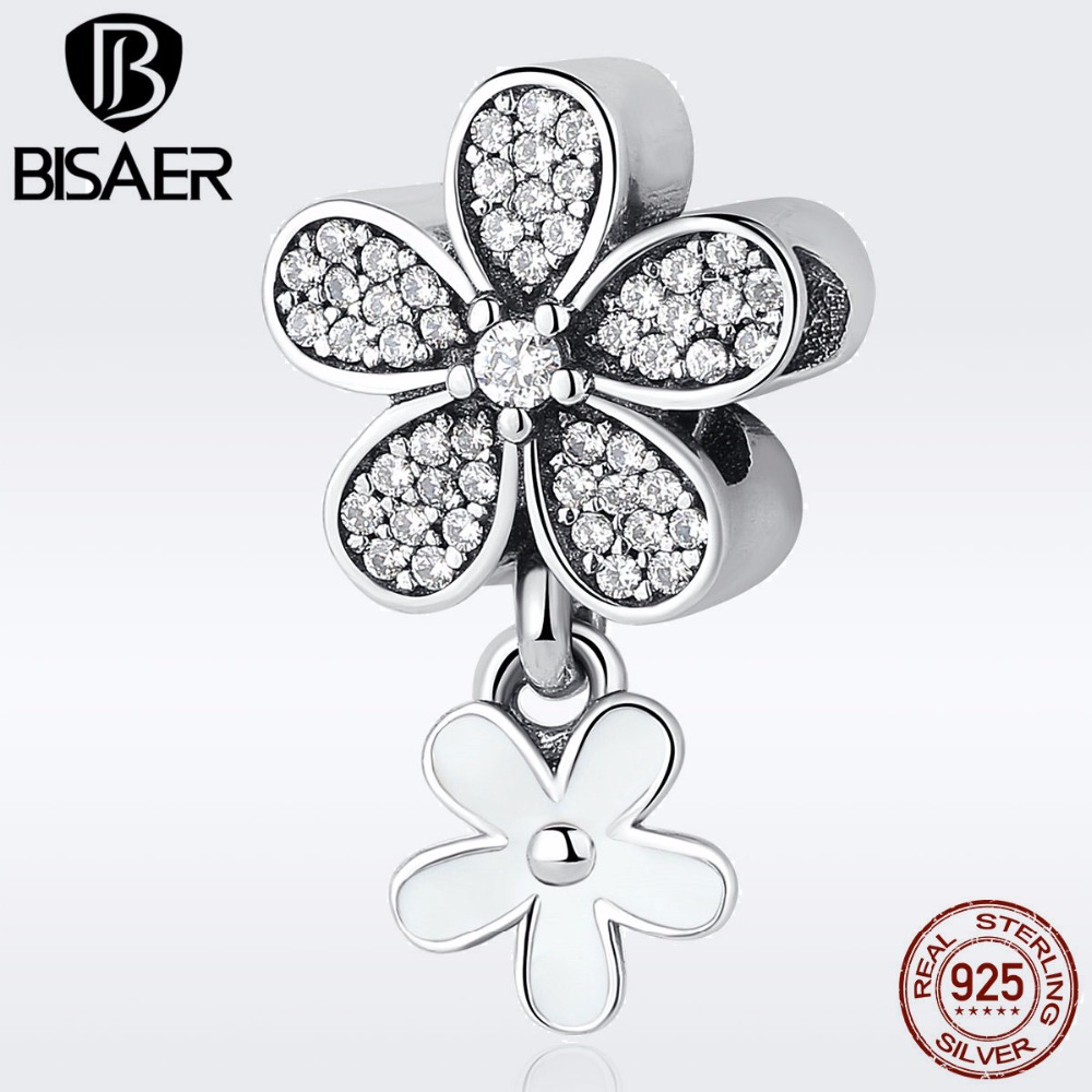 925 Sterling Silver Dazzling Daisy Flower, White Enamel & Clear CZ Pendant Charms Fit Charm Bracelets & Necklaces Jewelry EDC077