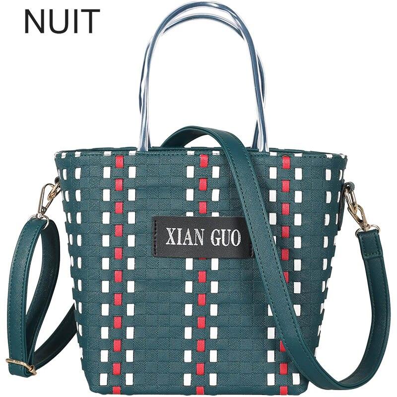 Hit Color Vegetable Basket Bag Women Beach Bag Womens Letter Pu Leather Large Capacity Shoulder Bag Handbag Tote Bag