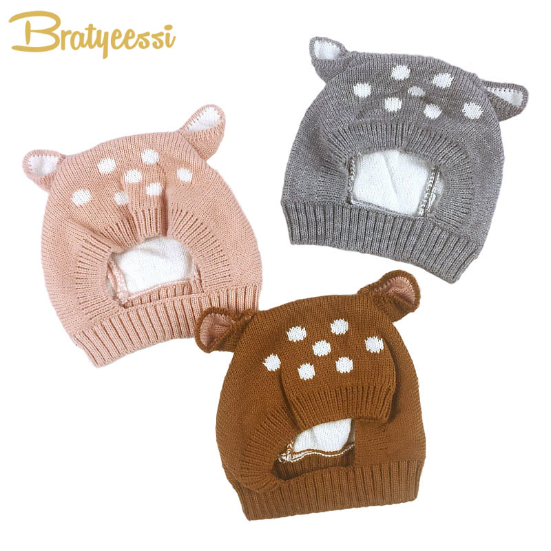825747a1009 New Deer Baby Hat with Ears Cartoon Winter Baby Bonnet Knit Elastic Kids Hats  Infant Cap Christmas for 6-24 Months 1 PC